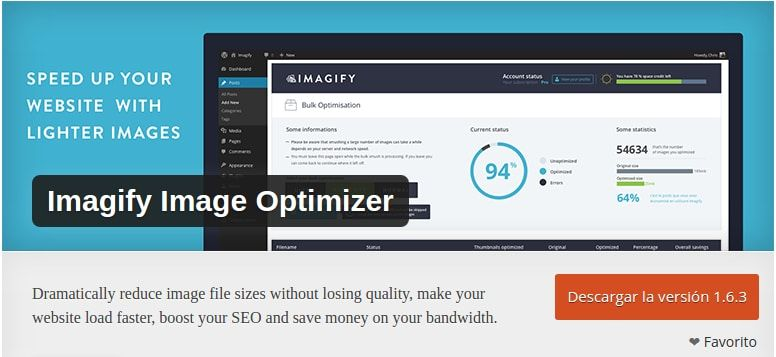 Plugin WordPress para optimizar Imágenes – Imagify Image Optimizer