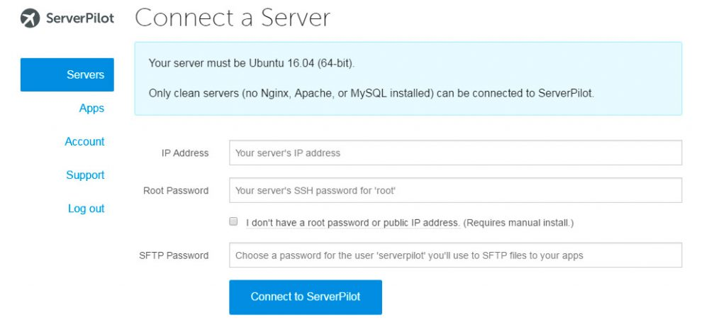 conectar servidor ServerPilot
