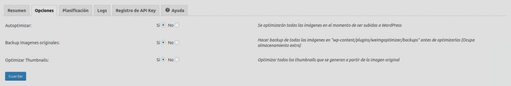 Opciones del plugin optimizador de imágenes para WordPress Optimizador.io