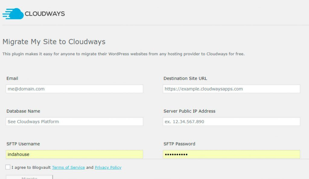Datos Migración WordPress CloudWays