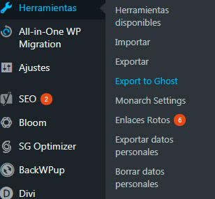 Exportar WordPress a Ghost