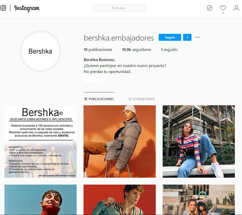 Bershka no está buscando embajadores en Instagram