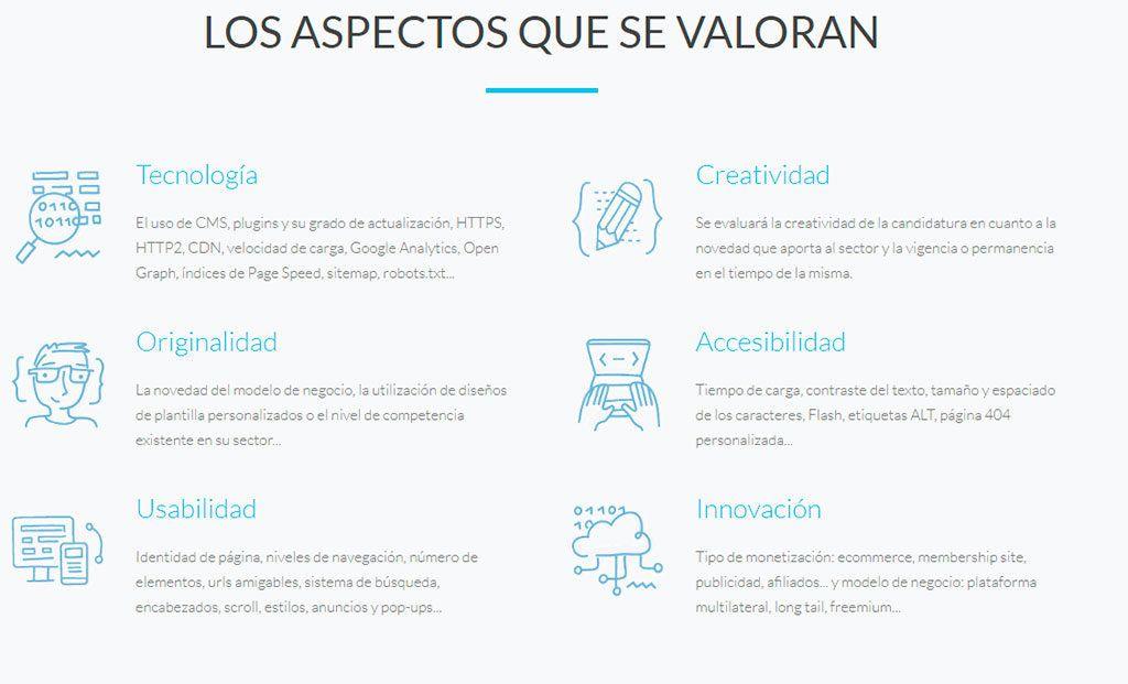 Aspectos a valorar - Premios Cantabria Digital 2018