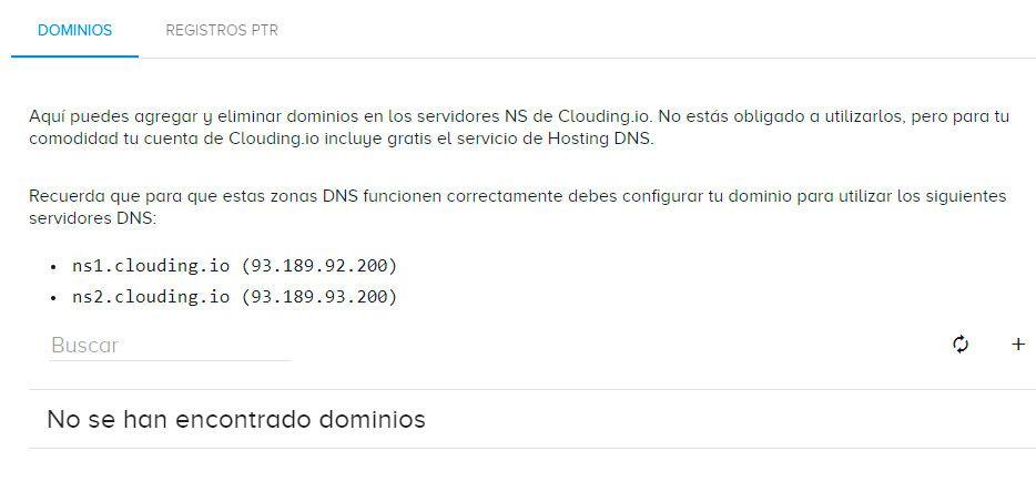 Gestión DNS Clouding.io