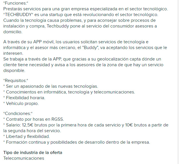 Oferta Empleo Techbuddy